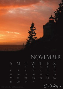 Bass Harbor Headlight, the November image from Don Verger 2011 Poster Calendar.