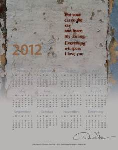 """Love"" 2012 at-a-glance one page calendar"