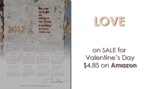 Valentine's Sale for Donald Verger's LOVE one page calendar on Amazon