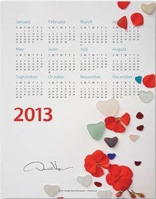 sea glass hearts wall calendar