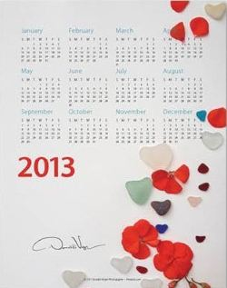 valentine's heart sea glass calendar