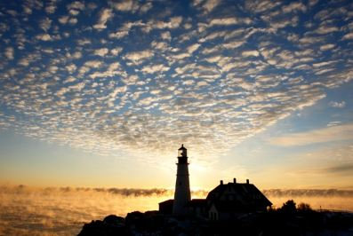 portland headlight morning magic clouds