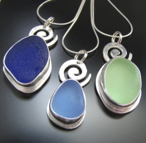 west coast sea glass pendants