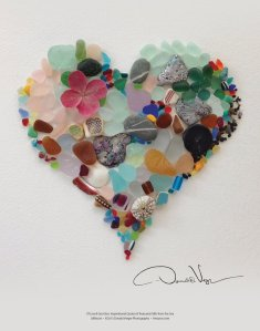sea glass heart poster