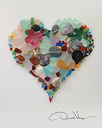 16x20 sea glass heart