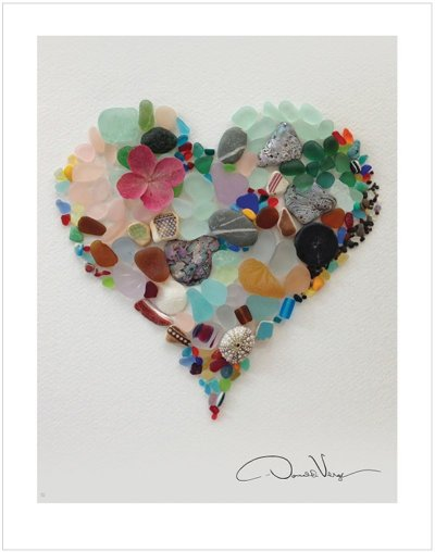 8x10 border Sea glass heart