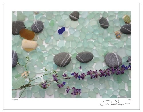 SEA GLASS AND FLOWER POSTER