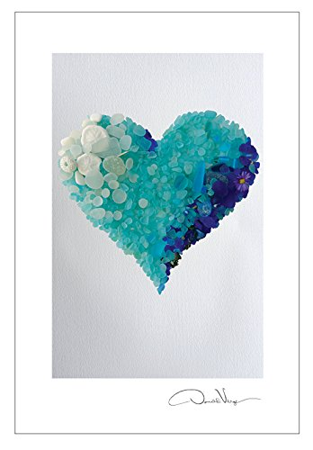 aqua sea glass heart postcard pack