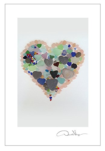 pink sea glass heart postcard pack