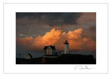 nubble orange cloud postcard