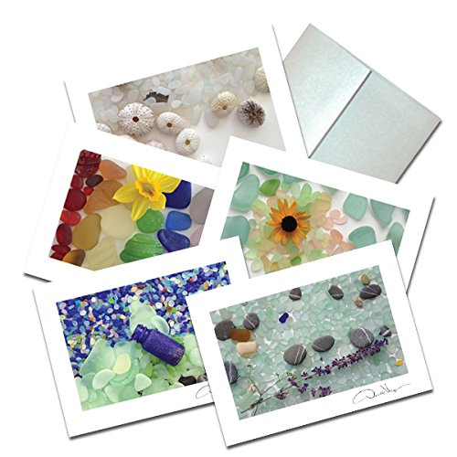 sea glass non heart note cards