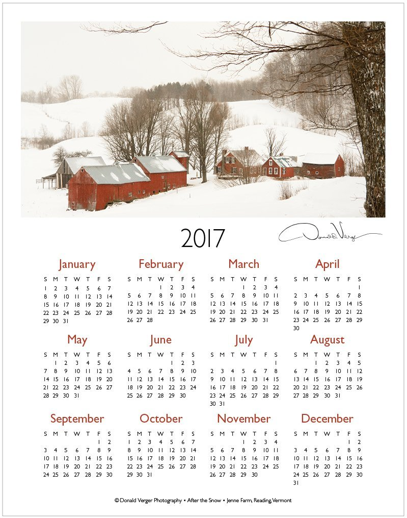 2017 Jenne Farm one page calendar | Donald Verger Photography