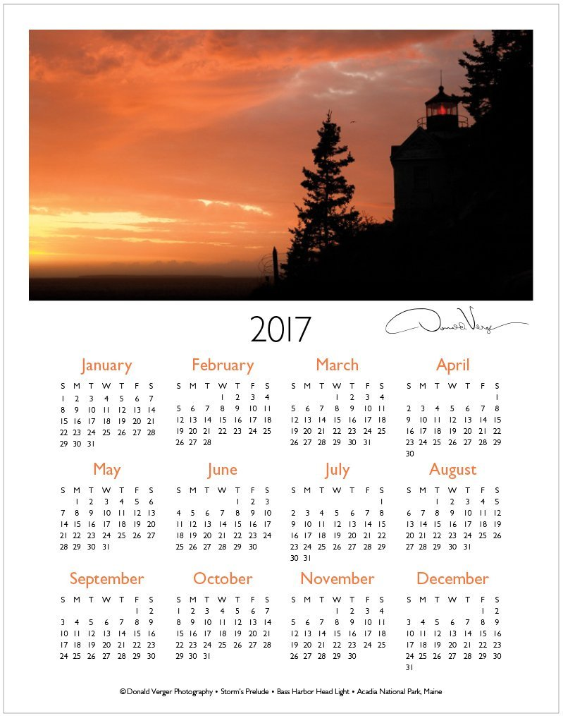 2017 sunset one page calendar | Donald Verger Photography